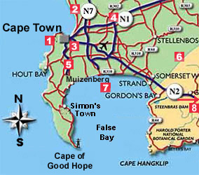 Areas around Cape Town and Street Maps of South Africa